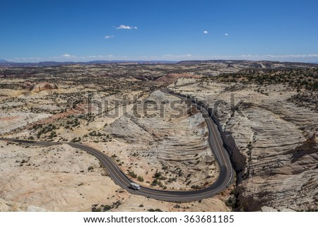 Head of the Rocks Overlook at scenic byway 12 in Utah, USA
