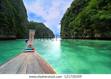 Head of wooden long tailed boat tour around Thailand Islands - stock photo