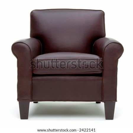 Head on view of leather chair - stock photo
