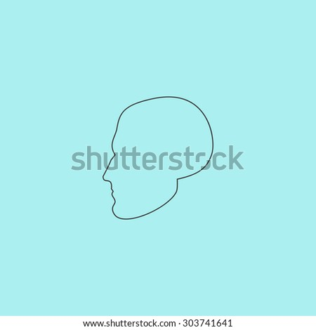 Head. Outline simple flat icon isolated on blue background