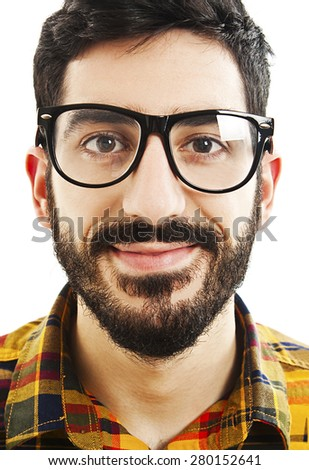 Head portrait of an attractive young man wearing glasses. Isolated on white background - stock photo