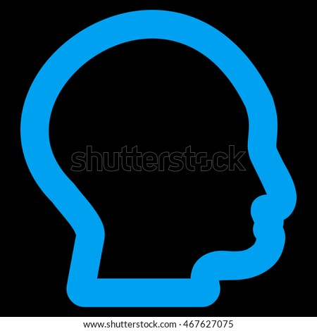 Head Profile glyph icon. Style is outline flat icon symbol, blue color, black background.