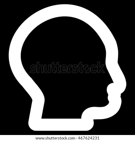 Head Profile glyph icon. Style is outline flat icon symbol, white color, black background.