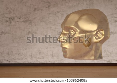 Head sculpture in room creative concept. 3D illustration.