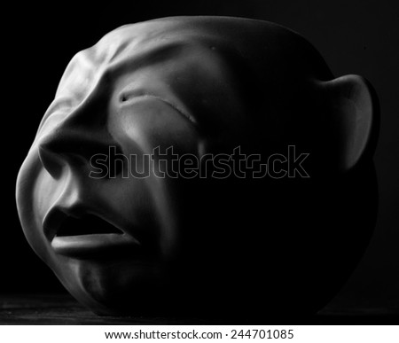 Head sculpture, monochrome - stock photo