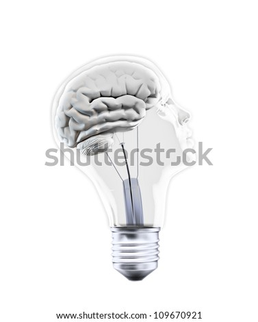 Head shaped bulb - creativity concept - stock photo