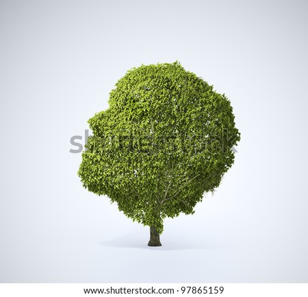 Head shaped tree - stock photo