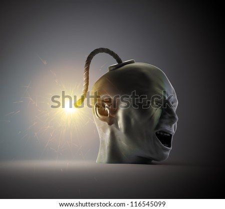 Head shaped vintage bomb about to explode - stock photo