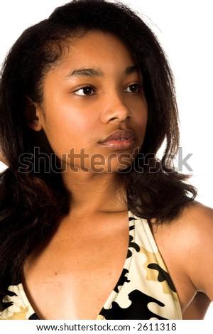 Head shot of a beautiful young African American woman in a camo bikini - stock photo