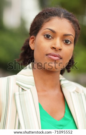Head shot of a beautiful young black woman