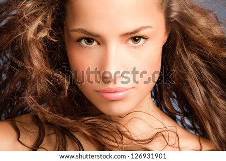 head shot of a beautiful young woman, closeup portrait