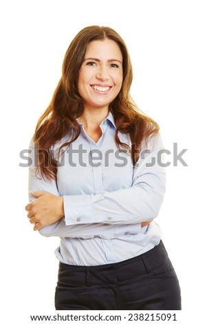 Head shot of attractive smiling businesswoman with her arms crossed