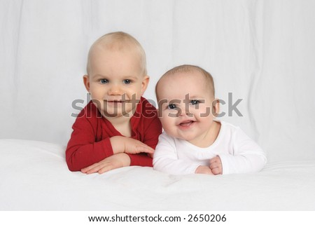 head shot of boy and girl - stock photo