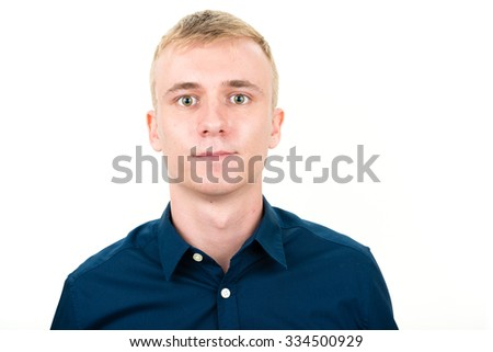 Head shot of man isolated on white - stock photo