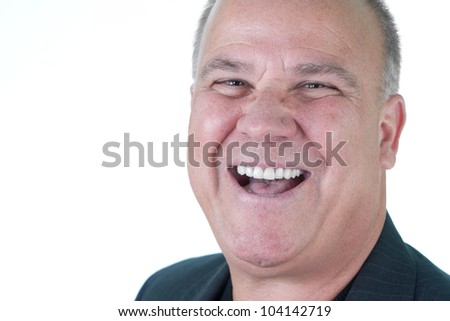 Head shot of many with emotional expression on face - stock photo