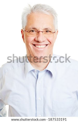 Head shot of smiling senior man with glasses and grey hair - stock photo