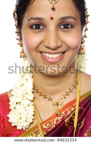 Head shot of traditional young indian woman