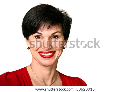 Head shot of woman in red sweater smiling - stock photo