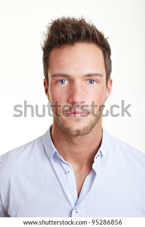 Head shot of young business attractive man - stock photo