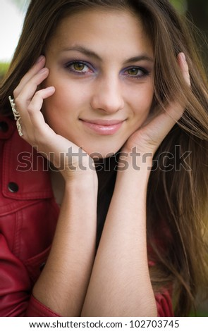 Head shot Portrait of a beautiful young woman - stock photo