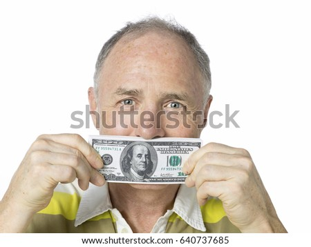 Head shot senior man being funny with money isolated on white background