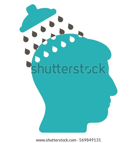 Head Shower glyph icon. Style is flat graphic bicolor symbol, grey and cyan colors, white background.