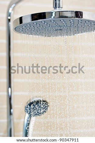 head shower turned on - stock photo