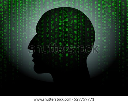 Head silhouette against green hexadecimal data background