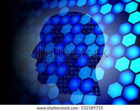 Head silhouette against  hexagons and hexadecimal data background