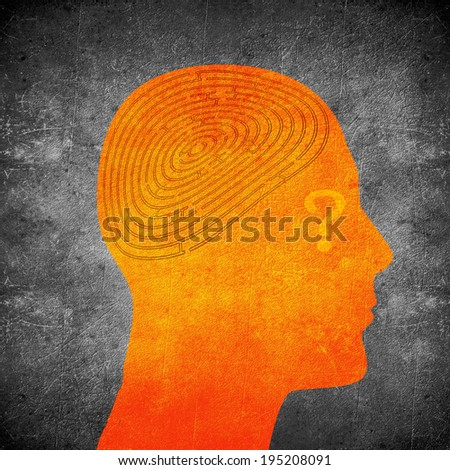 head silhouette with labyrint and question mark - stock photo