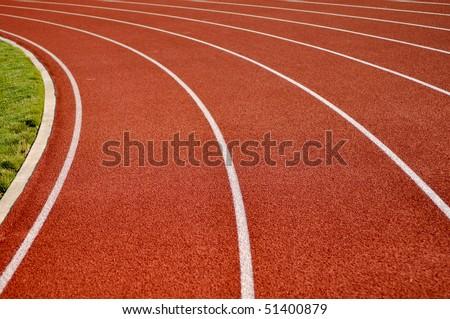 Head Start Red, White Running Track Background - stock photo