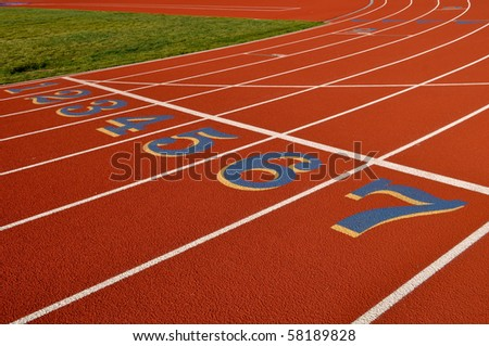 Head Start Red, White Running Track Background