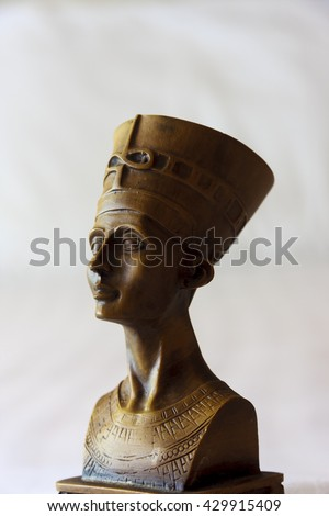 Head statue of Egyptian queen Cleopatra. - stock photo