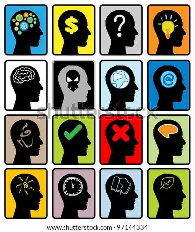 head think silhoutte vector - stock photo