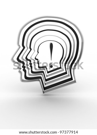 Head with a exclamation mark inside. 3D image - stock photo