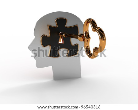 Head with a puzzle and key. 3D image - stock photo