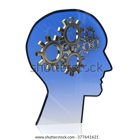 Head with gears inside as a symbol work of brain in the design of the information related to the ideas and technologies - stock photo