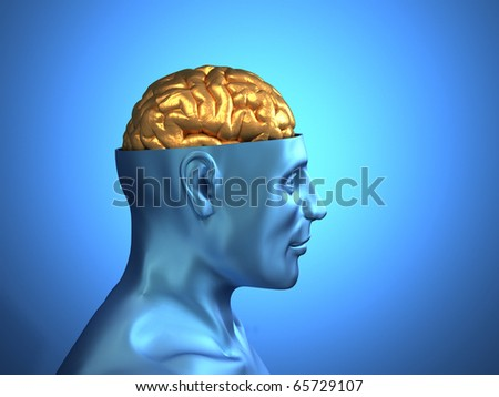 Head with golden brain - this is a 3d render illustration - stock photo