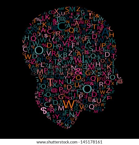 head with letters - stock photo