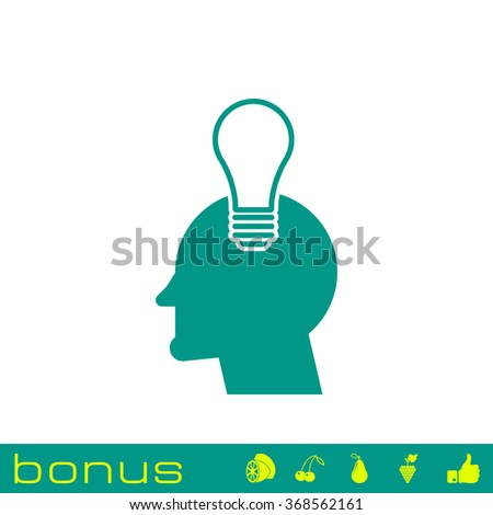 head with light bulb icon - stock photo