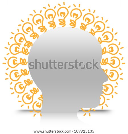 Head With Many Light Bulb For Idea Generate Isolate on White Background - stock photo