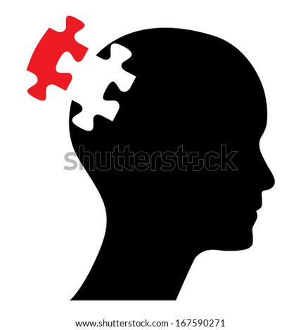 Head with one red piece of missing puzzle, raster version. Abstract business concept design. - stock photo