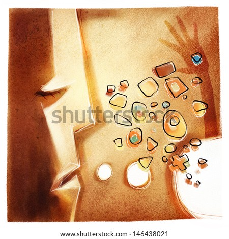 head with speech bubble, unique cubistic style, symbolic communication, new ideas etc. - stock photo