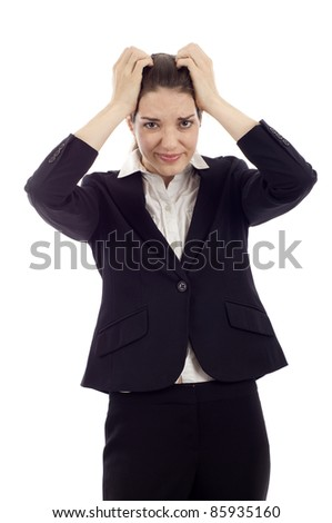 Headache -  Businesswoman with his hands on her head isolated over white background - stock photo