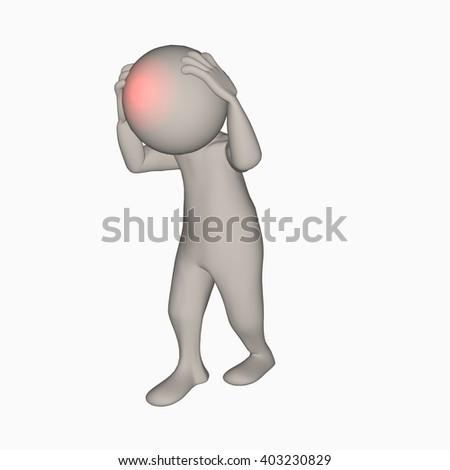 headache 3d - stock photo