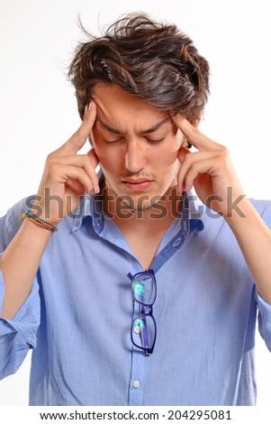 headache man portrait,stressed young man. - stock photo