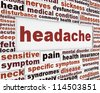 Headache medical poster design. Migraine disorder message background - stock photo