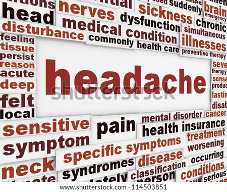 Headache medical poster design. Migraine disorder message background - stock photo