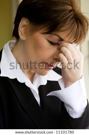 headache or overworked - stock photo