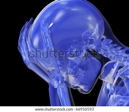 Headache, Pain, Distress and Sadness, Despair - stock photo